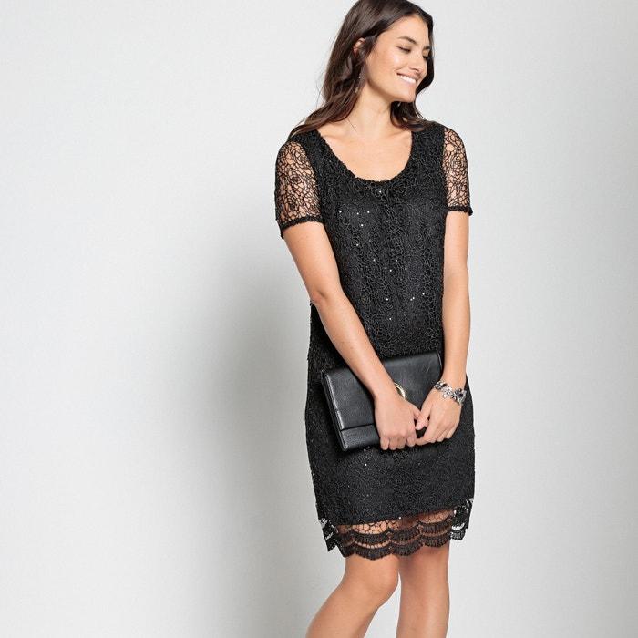 Straight Guipure Lace Diamanté Dress  ANNE WEYBURN image 0