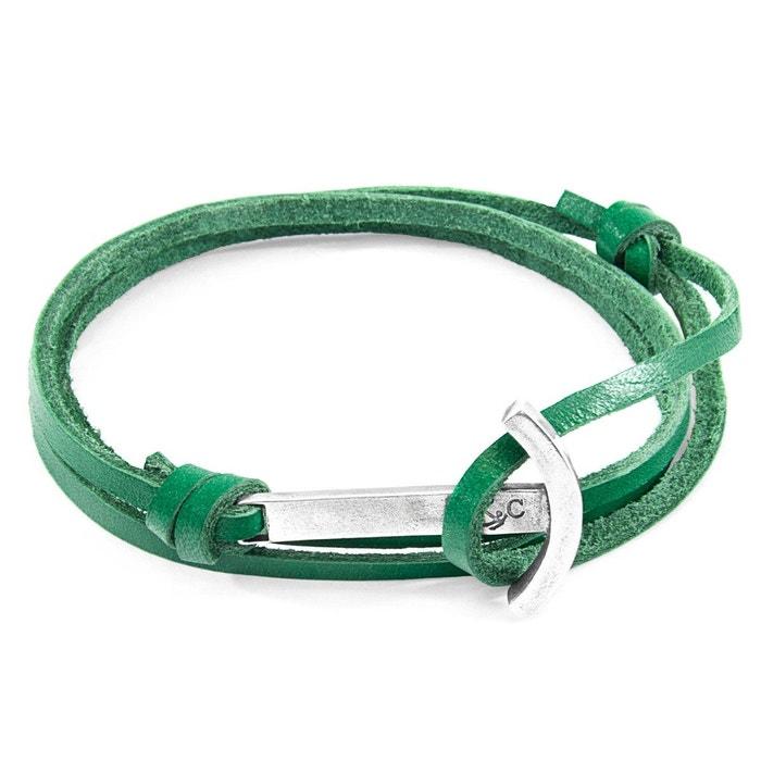 Bracelet ancre clipper argenté et cuir plat Anchor & Crew | La Redoute