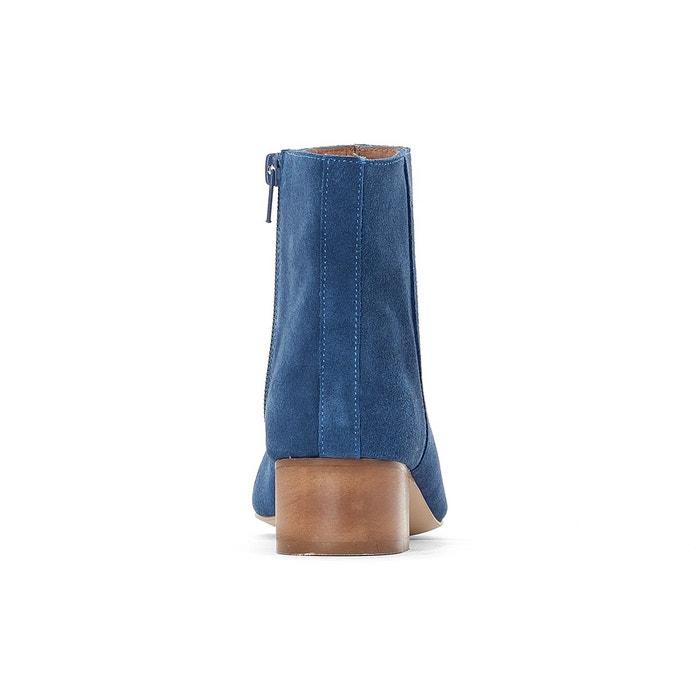 Boots cuir talon moyen beige La Redoute Collections
