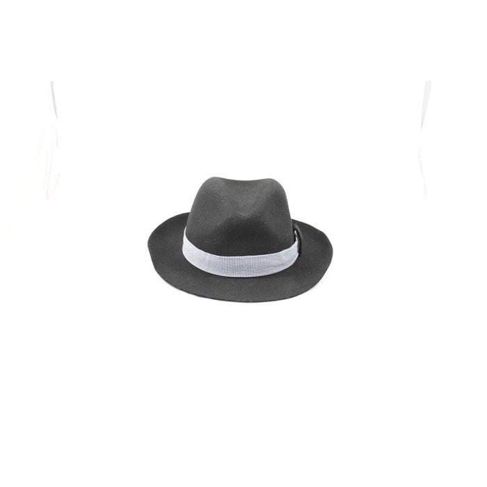 Chapeau fedora feutre ruban square noir Panames And Co | La Redoute