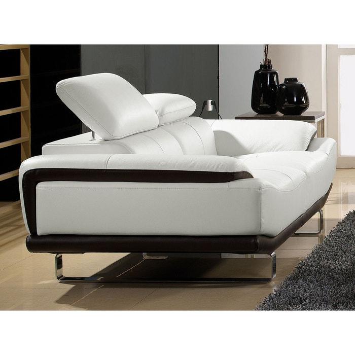 canap cuir 2 places osmoz blanc et noir la maison du canape la redoute. Black Bedroom Furniture Sets. Home Design Ideas