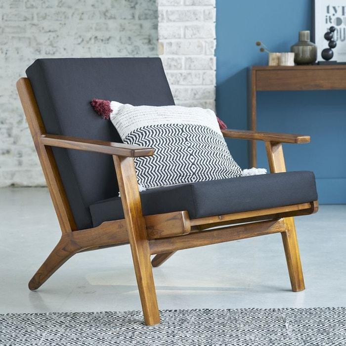 fauteuil scandinave teck vintage bois clair bois dessus bois dessous la redoute. Black Bedroom Furniture Sets. Home Design Ideas