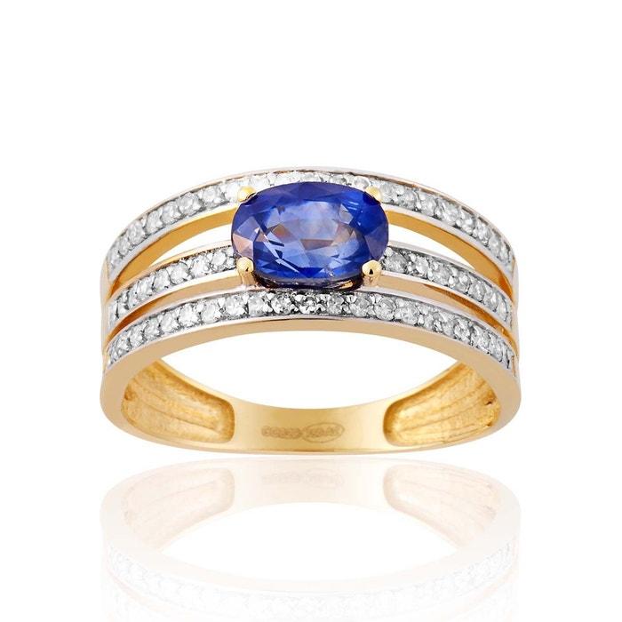 Bague en or 750/1000 jaune, saphir bleu et diamant bleu Cleor | La Redoute