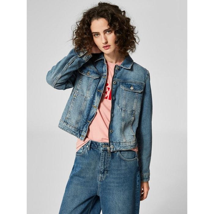 adb5d8c62352 Veste en jean classique - bleu-medium blue denim Selected Femme