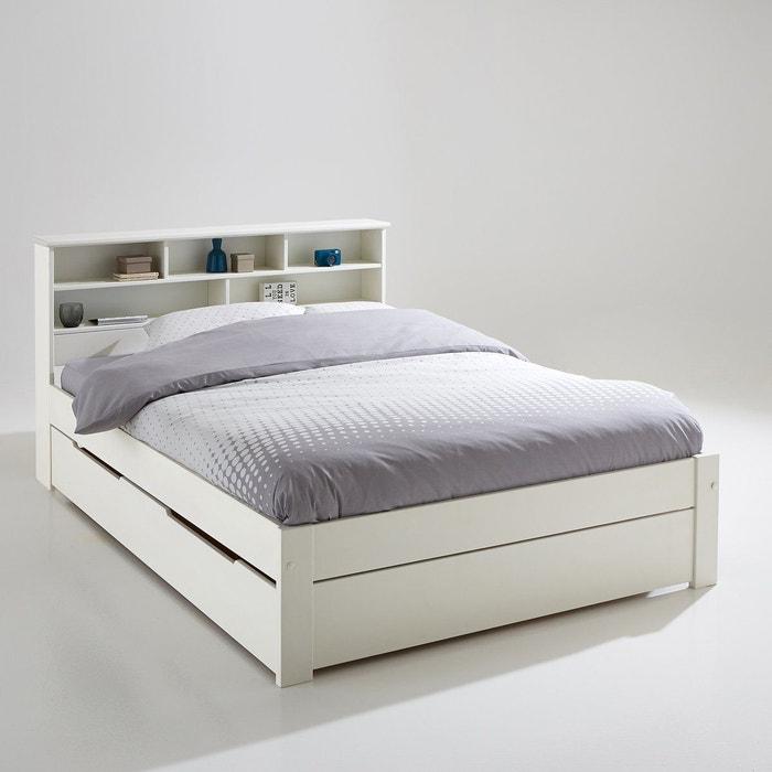 Ensemble lit, tête de lit et sommier nikkö blanc La