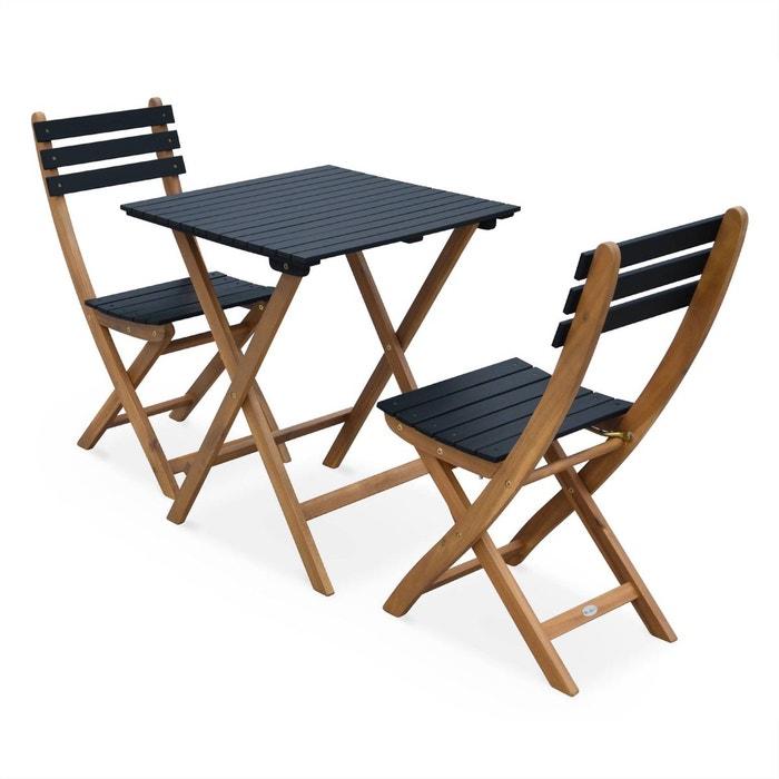 Table de jardin 60x60cm barcelona bois noir table bistrot pliante bicolore carr e en - Table de jardin en bois ...
