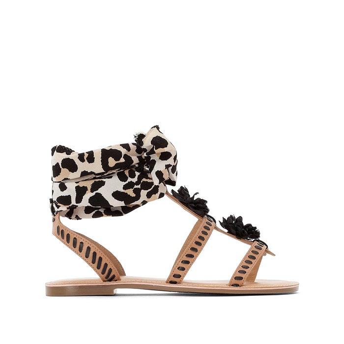 7398bf03e Leopard print tie-leg flat sandals , leopard print, La Redoute Collections  | La Redoute