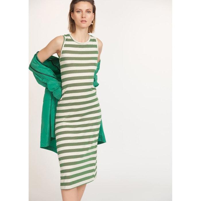 181681fbb5a Robe tube longue à rayures ecru vert La Fee Maraboutee