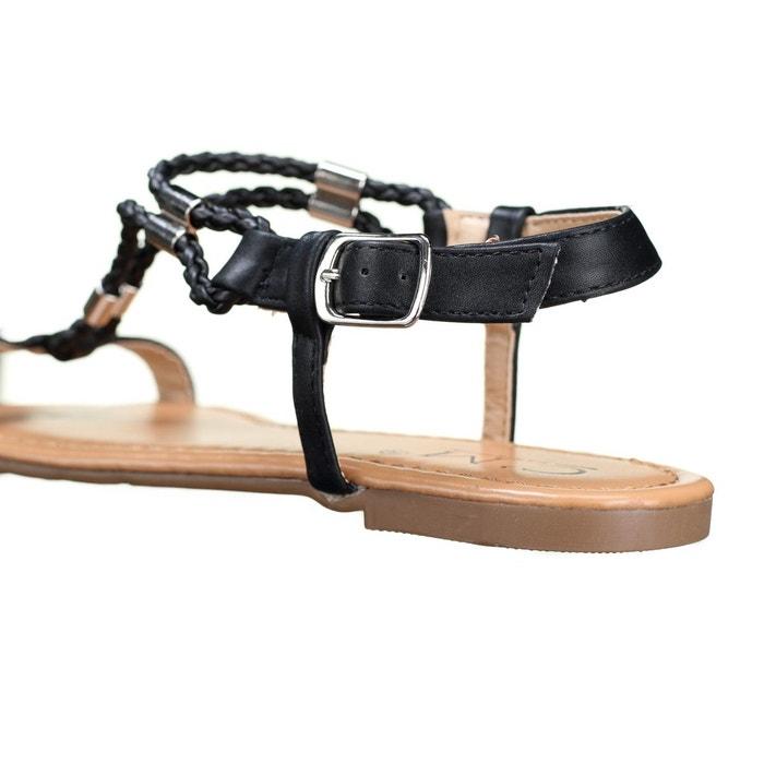 Sandales à tresses noir Leader Mode