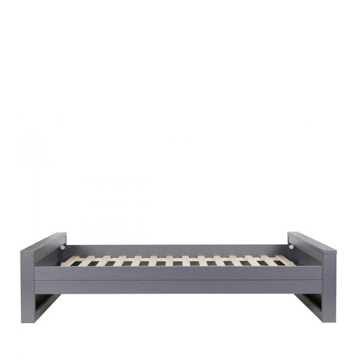 cadre de lit en bois fsc 90x200 denis gris woood la redoute. Black Bedroom Furniture Sets. Home Design Ideas