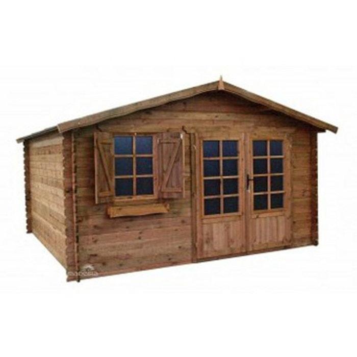 Abri de jardin en bois trait bastien 16m bois fonce madeira la redoute for Abri de jardin en bois la redoute