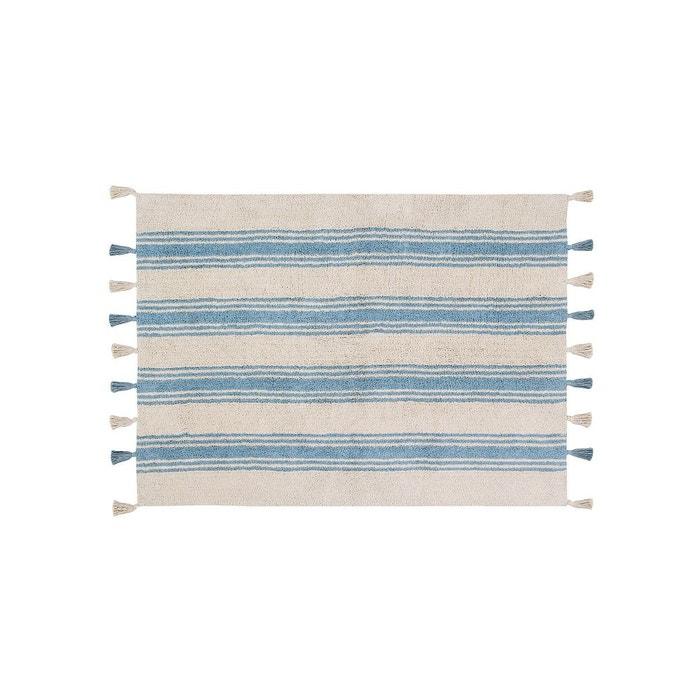 tapis en coton naturel beige bleu avec pompons stripes lorena canals bleu lorena canals la redoute. Black Bedroom Furniture Sets. Home Design Ideas