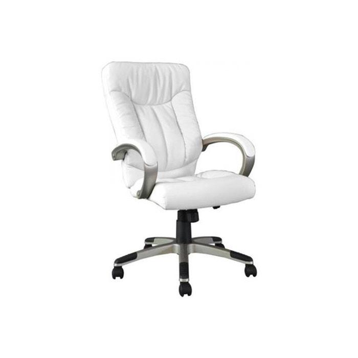 fauteuil de bureau en pu et en pvc blanc manager blanc. Black Bedroom Furniture Sets. Home Design Ideas