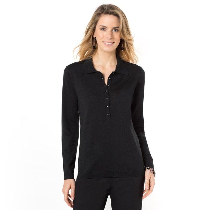 afbeelding Trui in fijn tricot met hemdskraag ANNE WEYBURN