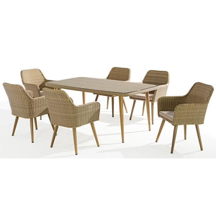 Table de jardin 180x100cm en aluminium résine tressée sable effet rotin  plateau verre CUBA 6 personnes