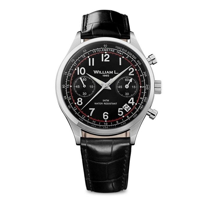 Montre cuir vintage style chronograph noir William L. 1985 | La Redoute Avec La Livraison Gratuite Paypal ja0zwP7