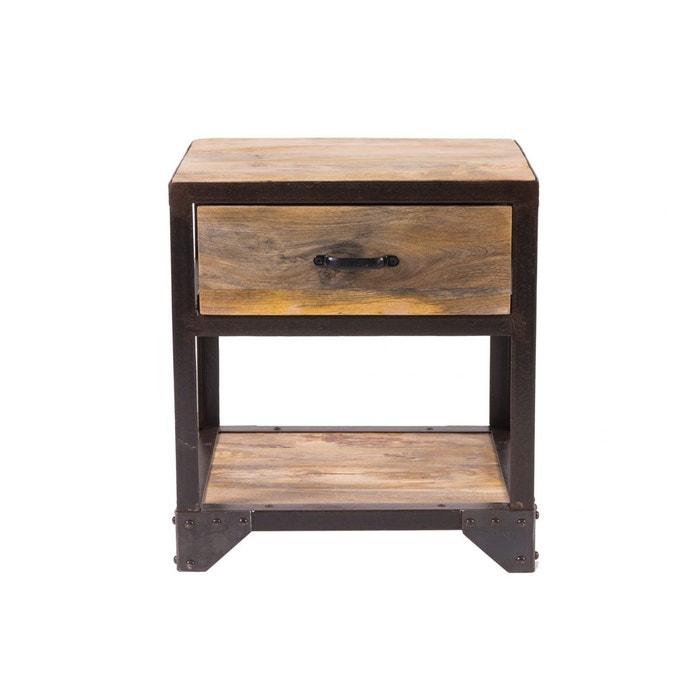 table de chevet design industriel industria bois brut. Black Bedroom Furniture Sets. Home Design Ideas