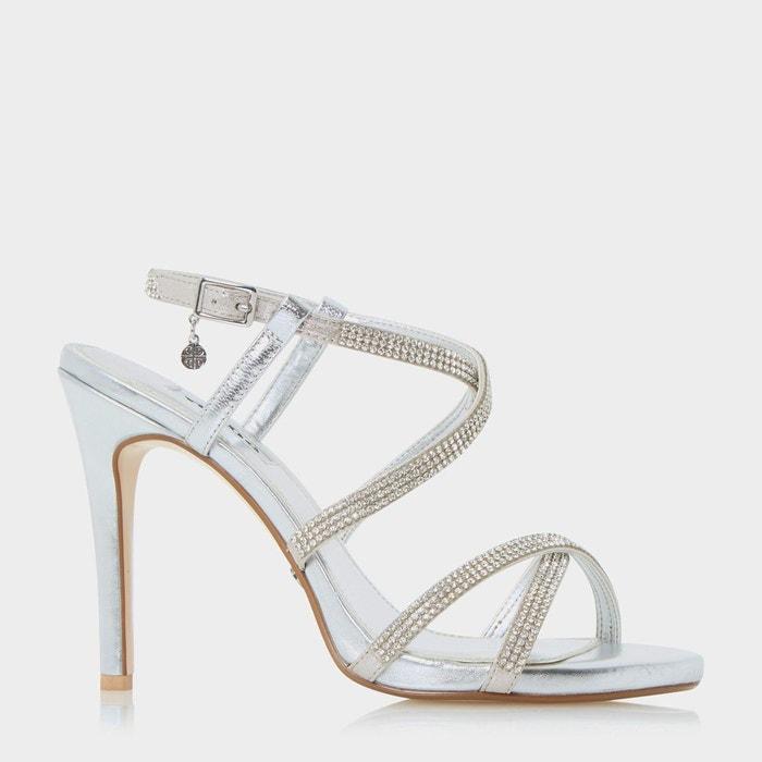 Sandales à talons hauts et brides ornées de bijoux fantaisie - mansionn  silver cuir Dune London  La Redoute