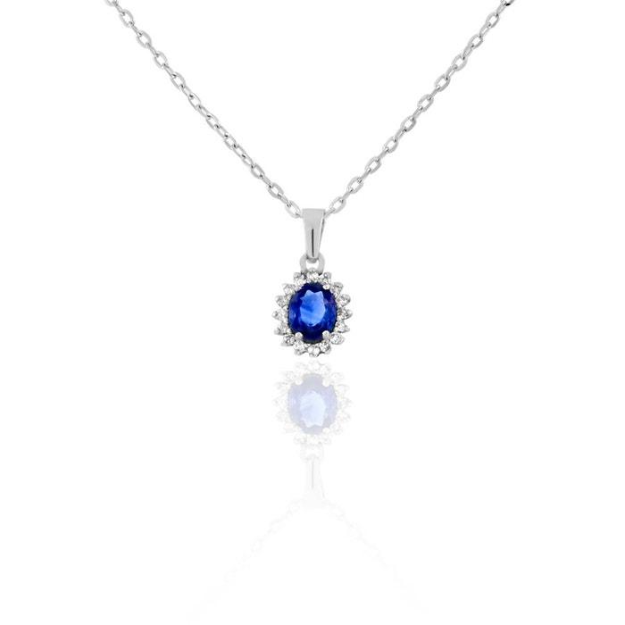 Collier en or 750/1000 blanc, saphir bleu et diamant bleu Cleor   La Redoute