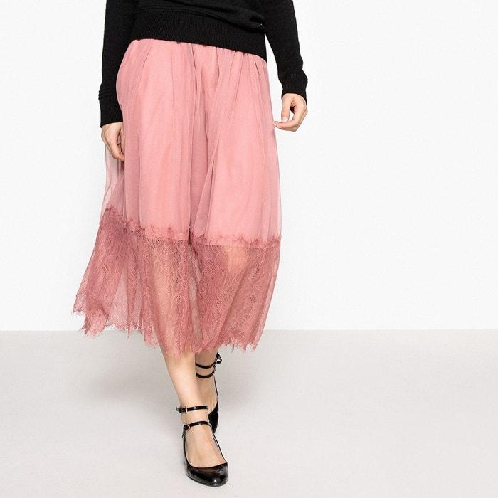 jupe longue mesh et dentelle rose la redoute collections la redoute. Black Bedroom Furniture Sets. Home Design Ideas