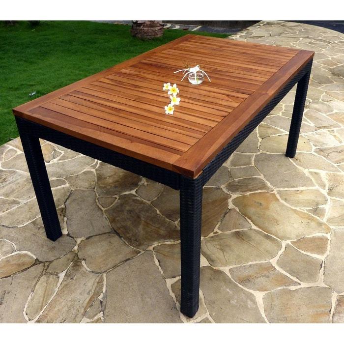 table de jardin 150 cm en teck huilé et résine poly rotin