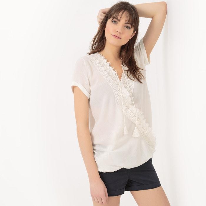 Short-Sleeved Lace Wrapover Blouse  LE TEMPS DES CERISES image 0
