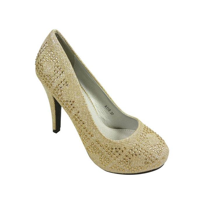 chaussures escarpins de mariage strass paillettes dore chaussmaro la redoute. Black Bedroom Furniture Sets. Home Design Ideas