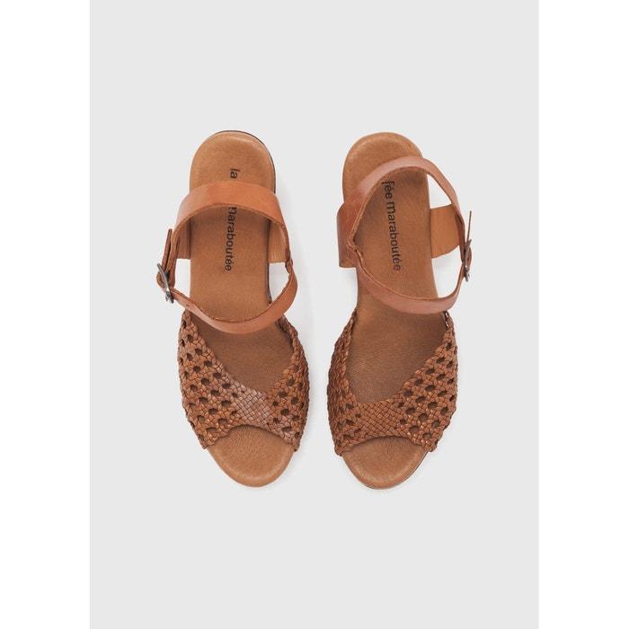 Sandales en bois et cuir marron La Fee Maraboutee