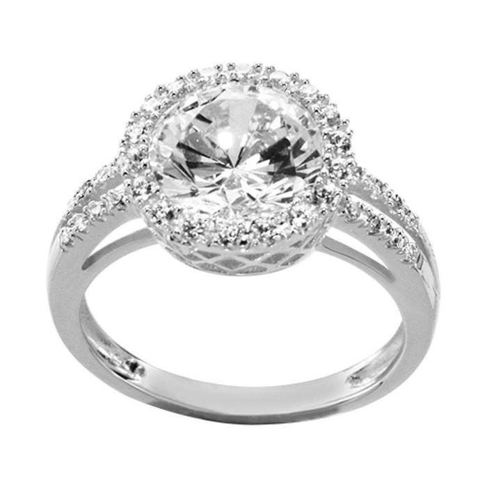 Bijoux En Argent Chez Auchan : Bague femme anneau fian?ailles solitaire rond oxyde de