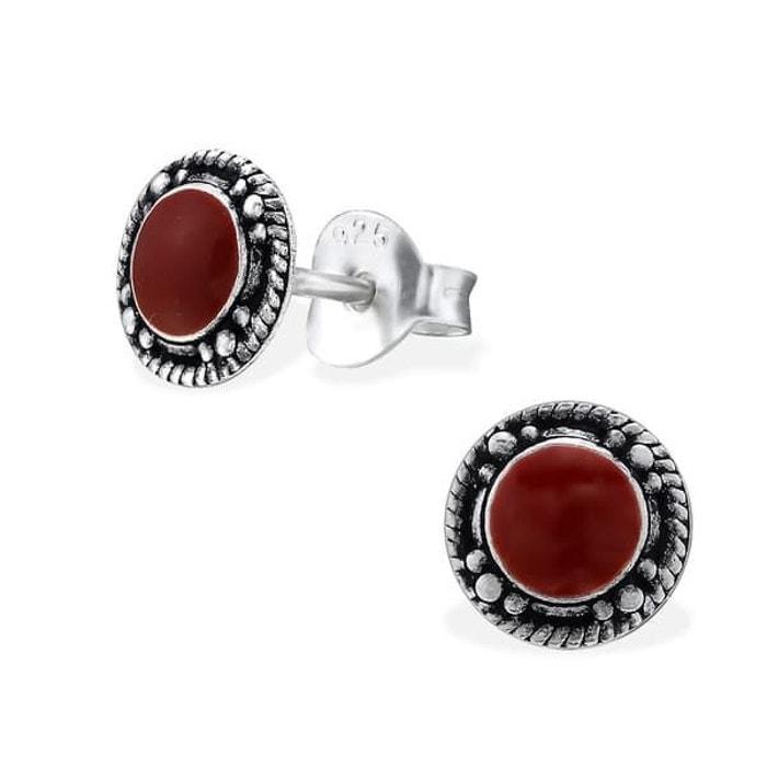 Boucles d 39 oreilles rond email argent 925 couleur unique so chic bijoux la redoute - La redoute contact mail ...