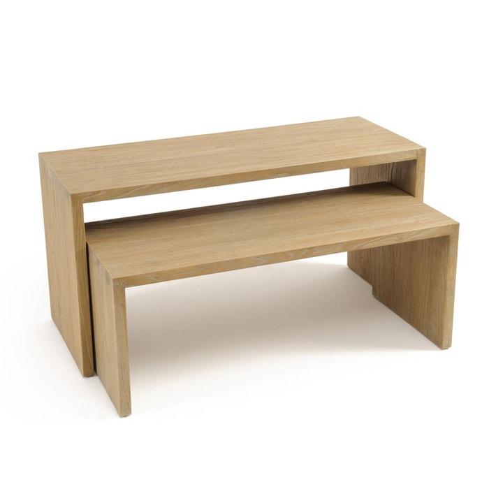 table basse gigogne en orme asayo lot de 2 naturel la. Black Bedroom Furniture Sets. Home Design Ideas