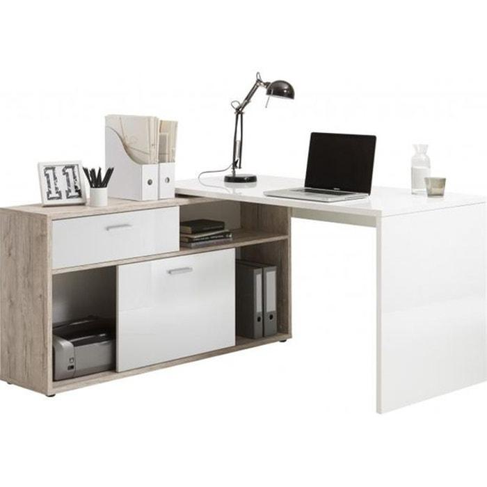 bureau d 39 angle avec rangements elsa marron declikdeco la redoute. Black Bedroom Furniture Sets. Home Design Ideas