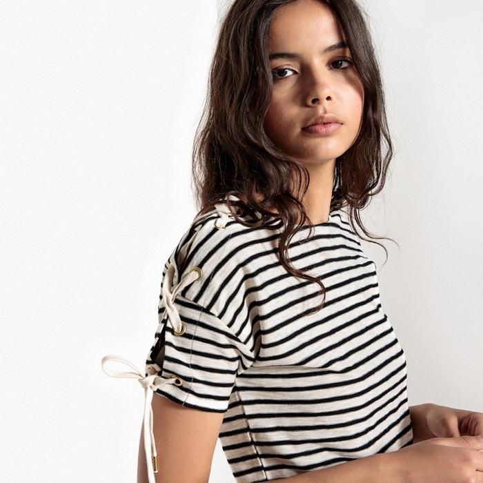 manga los corta La rayas a en Collections de hombros Redoute cordones con Camiseta WqwPgF