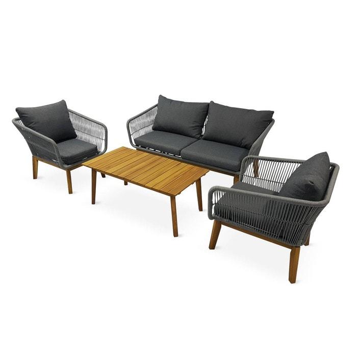 Salon de jardin 4 places - SAO PAULO - en corde tressée et bois, Gris chiné  / Coussins gris