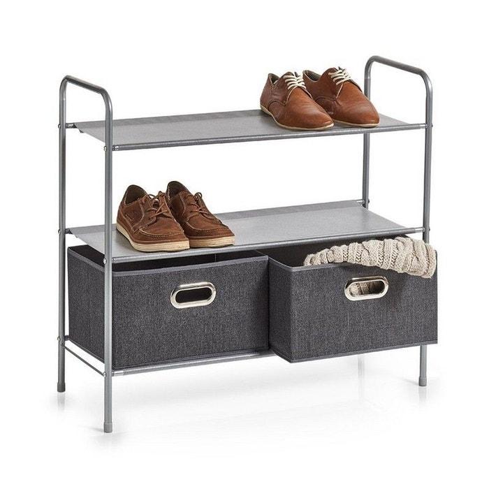 rangement chaussures avec 2 tiroirs tissu gris zeller present la redoute. Black Bedroom Furniture Sets. Home Design Ideas