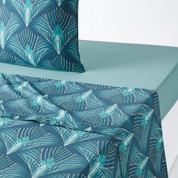 drap plat percale de coton pampelune imprim bleu la. Black Bedroom Furniture Sets. Home Design Ideas