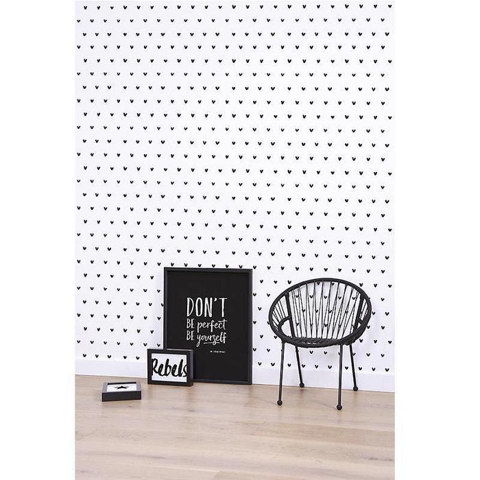 Papier Peint Motif C Ur Noir Et Blanc Lilipinso La Redoute
