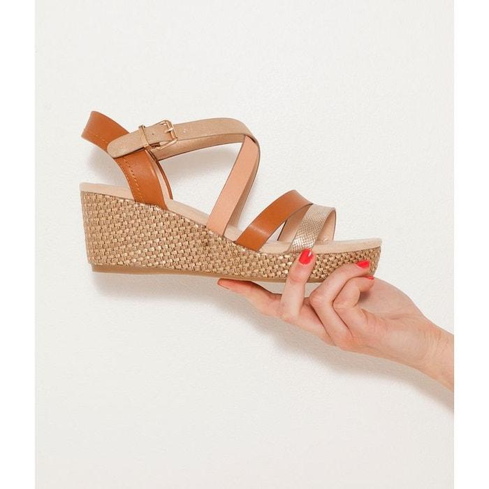 Sandales compensées  multi-brides  jaune Camaieu  La Redoute