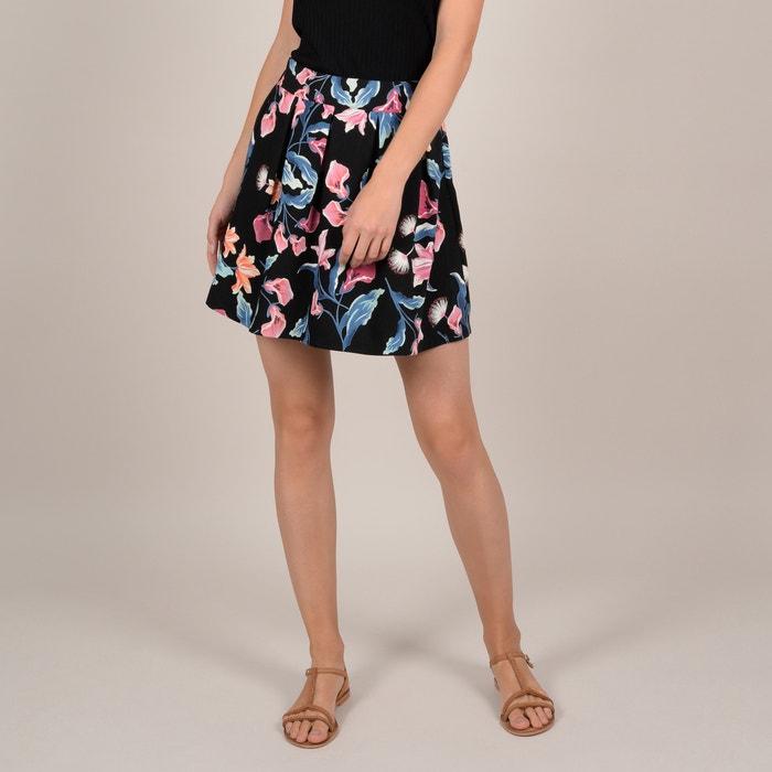 aa4441b43 Falda corta con estampado de flores y cintura elástica estampado fondo  negro Molly Bracken