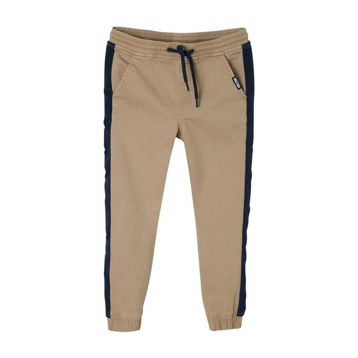 Pantalon jogger garçon bandes côtés camel