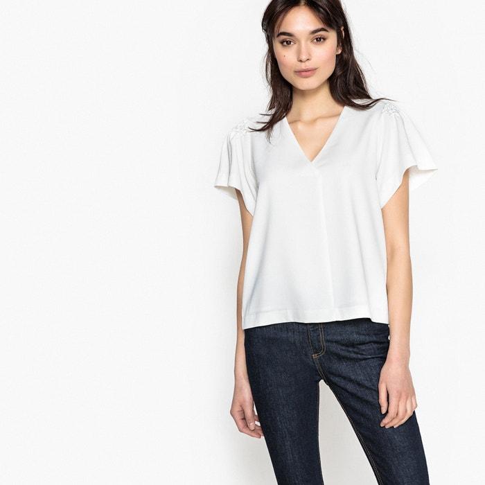 Plain Short-Sleeved V-Neck Blouse  SUNCOO image 0