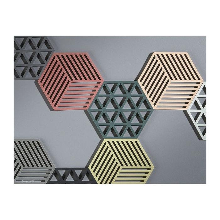 Dessous de plat design hexagone silicone gris foncé gris Wadiga | La ...
