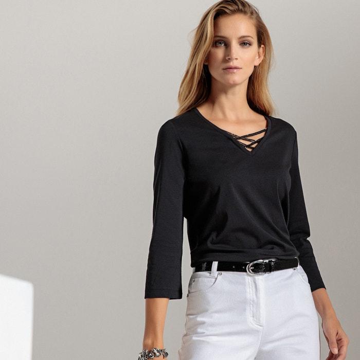 Cotton V-Neck T-Shirt  ANNE WEYBURN image 0