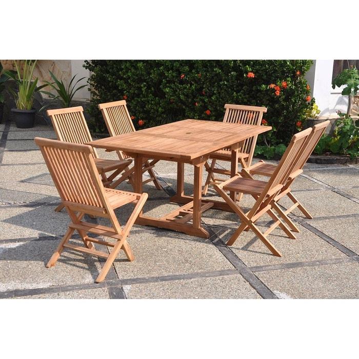 Kajang : salon de jardin teck massif 6 personnes - table rectangle + ...