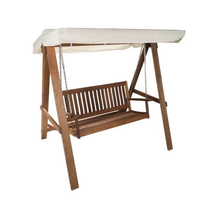 balancelle de jardin bombay 2 places beige et bois. Black Bedroom Furniture Sets. Home Design Ideas