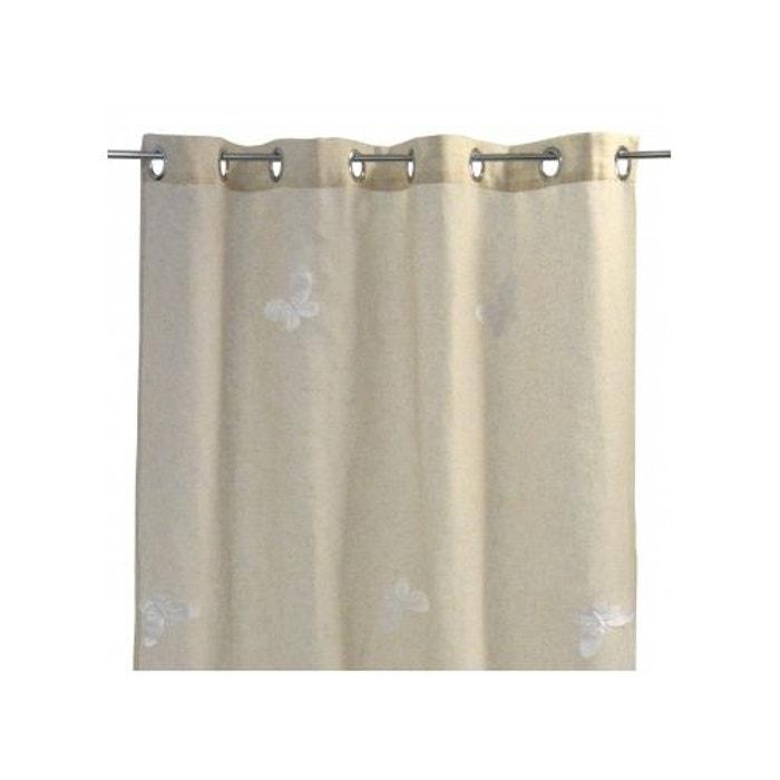 voilage effet etamine de lin papillons brod s home maison la redoute. Black Bedroom Furniture Sets. Home Design Ideas
