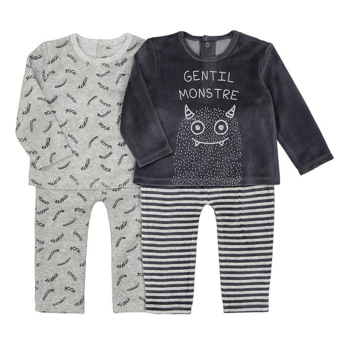 4b41b31c5109c Lot de 2 pyjamas 2 pièces velours 1 mois-3 ans gris