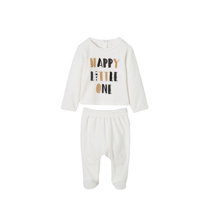 6e3ca7677c9d8 Lot de 2 pyjamas bébé 2 pièces en velours lot ivoire Vertbaudet