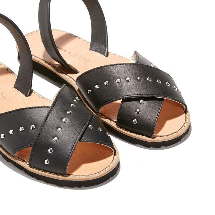 Sandales plates cuir de vache avarca rock noir Minorquines