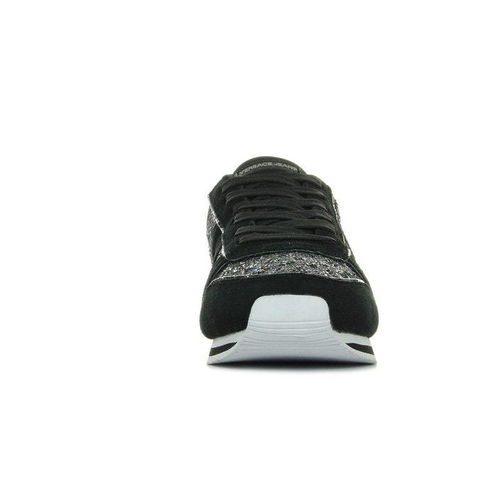 Baskets femme linea fondo stella dis1 suede glitter pois textile noir/blanc Versace